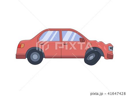Smashed sedan car with dented front hood. Drive safe, don't drink. Flat vector illustration 41647428
