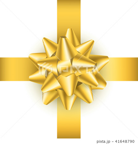 realistic detailed 3d golden gift bow vectorのイラスト素材