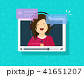 Video chatting online vector illustration, flat cartoon video player window with speaking happy girl 41651207
