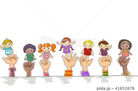 Kids Hands Finger Puppets Illustration 41652676