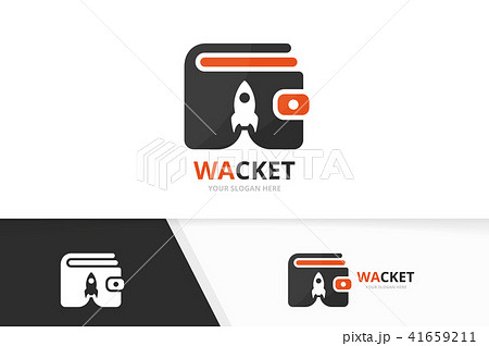 Vector wallet and rocket logo combination. Purse and start up symbol or icon. Unique finance and 41659211