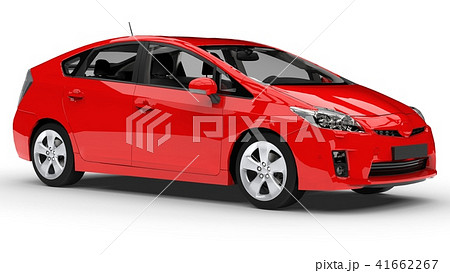 Modern family hybrid car red on a white background with a shadow on the ground. 3d rendering. 41662267