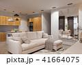 3d render Interior design in Scandinavian style, living room and kitchen 41664075