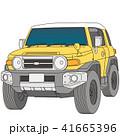 黄色と白のツートンカラーの四輪駆動車 41665396