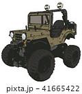 レトロでワイルドなオリーブ色の四輪駆動車 41665422