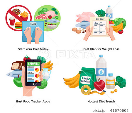 diet for weight loss 2x2 design concept のイラスト素材 41670602