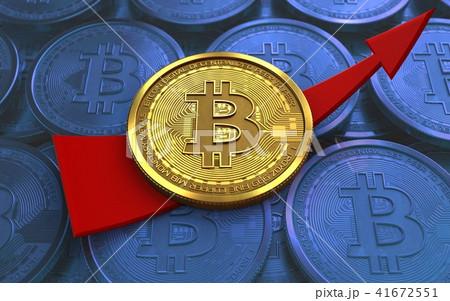 3d bitcoin up arrow 41672551