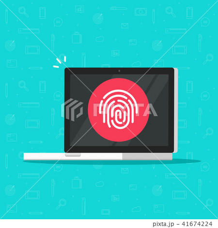 Computer with fingerprint vector icon, flat cartoon laptop pc with secure login technology, concept 41674224