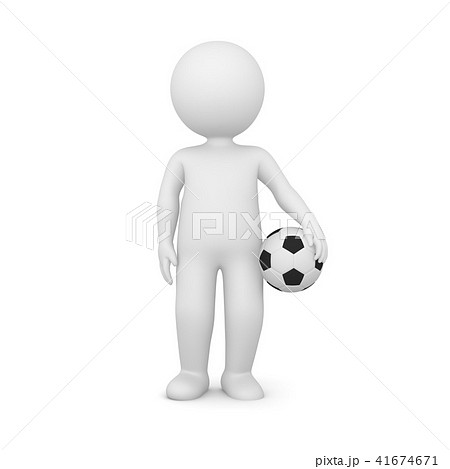 3D Rendering of a man holding a soccer ball 41674671