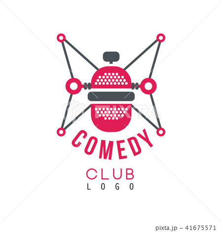 Comedy club logo with retro microphone vector Illustration on a white background 41675571