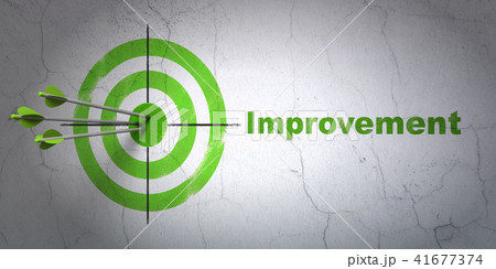 Business concept: target and Improvement on wall background 41677374