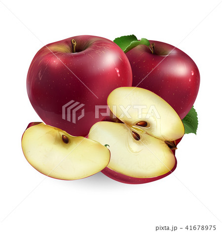 Red apple on white background 41678975