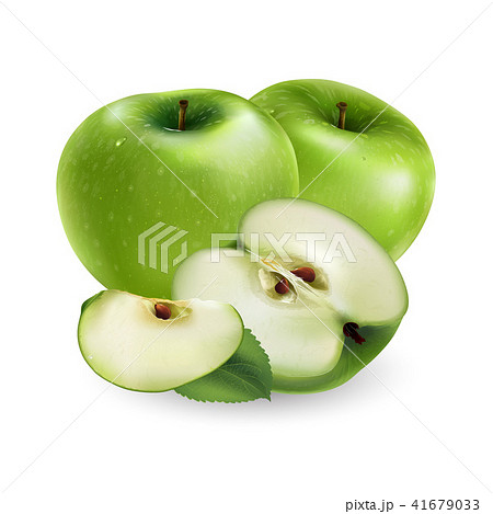 Green apple on white background 41679033