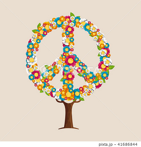 peace sign tree made of spring flowersのイラスト素材 41686844 pixta
