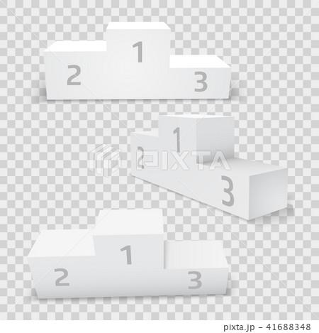 Empty white rectangular winner podium set. 41688348