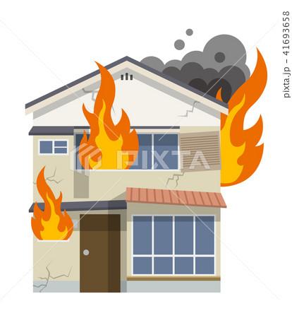 古い家、一軒家:火事、火災 41693658