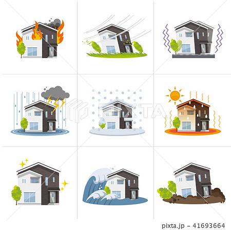 家、一軒家:災害、セット 41693664