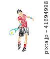 クレヨンで描いたテニス選手のイラスト 41694998