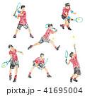 クレヨンで描いたテニス選手のイラスト 41695004