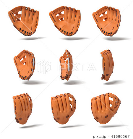 3d rendering of many orange leather baseball gloves in different angles of view on a white 41696567