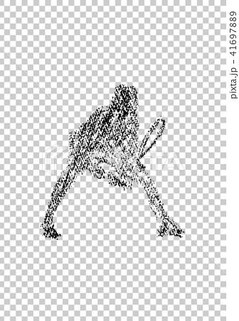 网球员的例证画与蜡笔 41697889