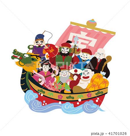 宝船 七福神 イラスト ベクター 41701026