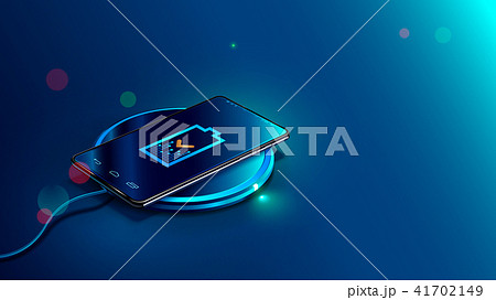 Black smart phone on wireless charging device on blue background. Icon battery and charging progress 41702149