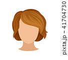 Woman s head with trendy hairstyle. Short brown hair. Fashionable female haircut with bang. Flat 41704730
