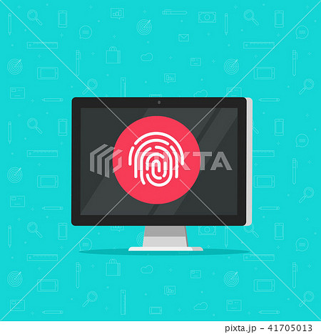 Computer with fingerprint vector icon, flat cartoon desktop pc with secure login technology, concept 41705013