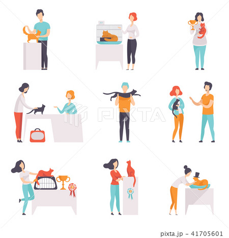 Cat breeds show, owners presenting their pets at show exhibition vector Illustrations on a white 41705601