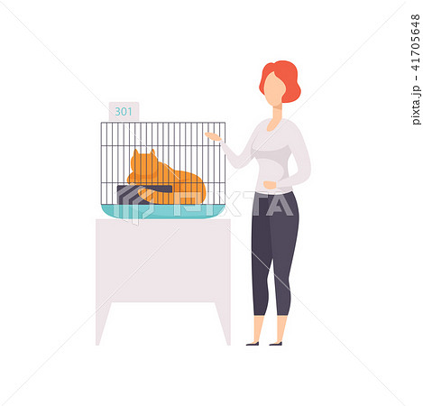 Female owner presenting her red cat in a cage at cat breeds show vector Illustration on a white 41705648