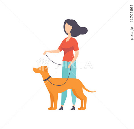 Owner keeping dog on the leash at show exhibition vector Illustration on a white background 41705665