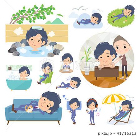 blue suit perm hair men_relax 41716313