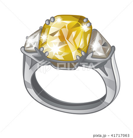 Exclusive ring made of platinum with inlaid yellow diamond isolated on white background. An instance 41717063