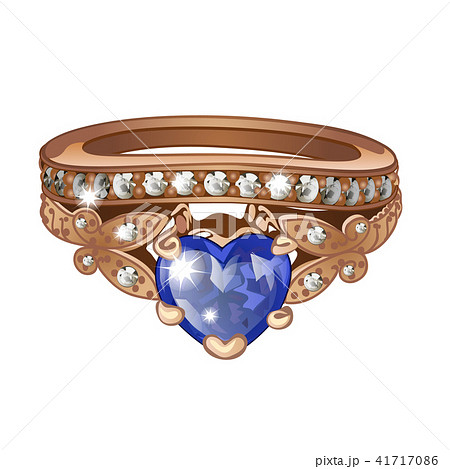 Exclusive ring made of gold with inlaid blue sapphire isolated on white background. An instance of 41717086
