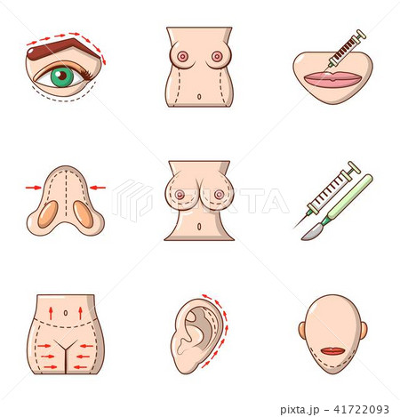 Plastic surgery icons set, cartoon style 41722093