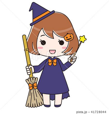 ハロウィン 箒と杖を持った魔女 41728044
