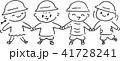 幼稚園 園児 幼児 子供 手をつなぐ モノクロ 41728241