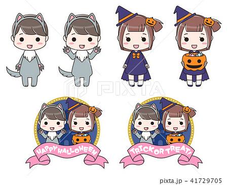 ハロウィンの仮装をした男の子と女の子 41729705