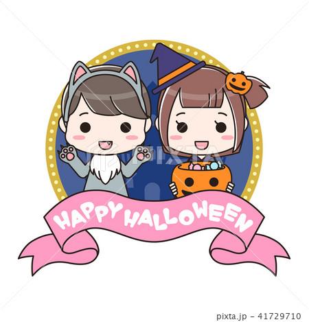 ハロウィンの仮装をした男の子と女の子 41729710