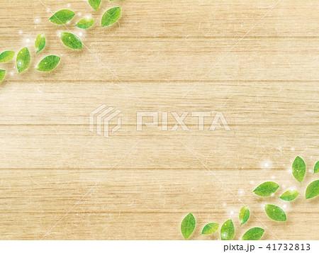 葉と木目の壁 41732813