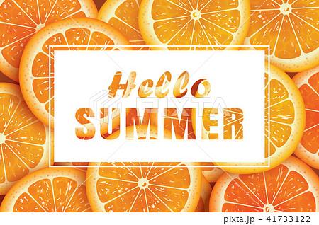 Hello summer on orange slice background.  41733122
