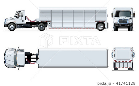 Vector semi truck template isolated on white 41741129
