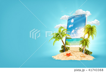 Tropical landscape on the screen of smartphone 41743368