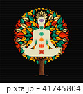 Yoga tree concept with woman in lotus pose 41745804