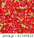 Gold and red reindeer christmas seamless pattern 41745814