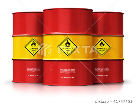 Group of red oil drums isolated white background 41747452