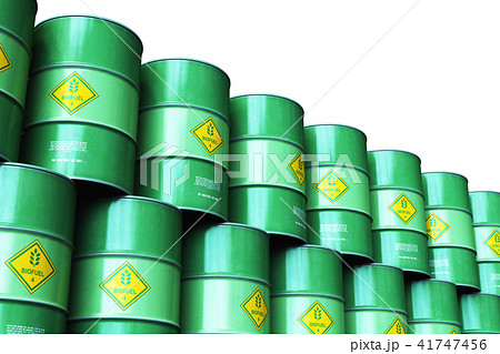 Green stacked biofuel drums isolated on white 41747456