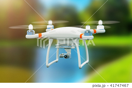 Quadcopter drone with 4K camera flying in the air 41747467