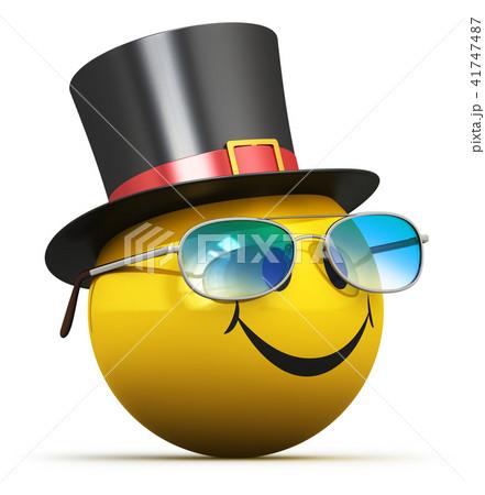 Happy yellow smiley emoticon in black hat 41747487